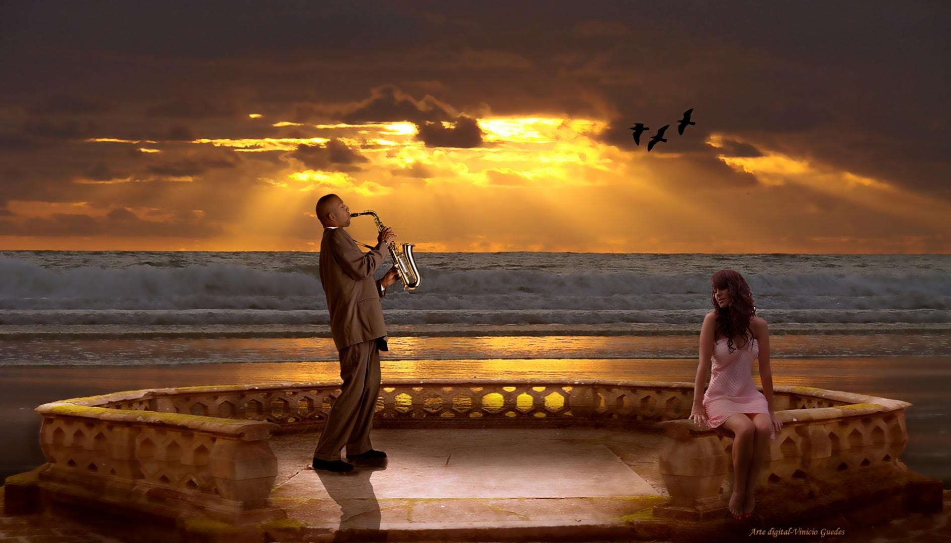 Arte Digital/Serenata ao pôr do sol.