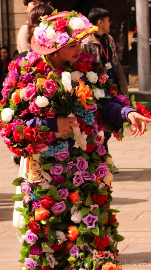 Espetáculos/Mulher em flores! ( artista de rua)