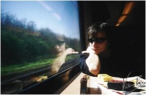 /a boy on the train