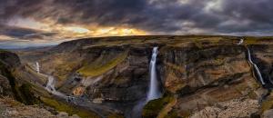 Paisagem Natural/Háifoss - panorama de 4 fotos verticais