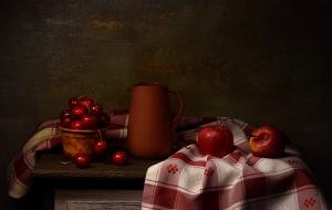 Outros/Natureza-morta com cerejas e maçãs vermelhas