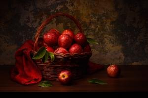 Outros/Natureza-morta com cesto de maçãs vermelhas