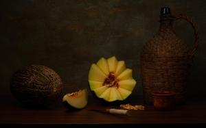 /Natureza-morta com melão e vinho