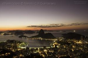 Paisagem Natural/Amanhecer na Baía da Guanabara com vista do Pão de