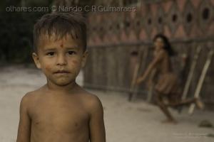 Paisagem Natural/Curumim habitante do Rio Negro na Amazônia, Brasil