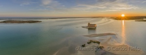 Paisagem Natural/Ria Formosa aerial sunset seascape....