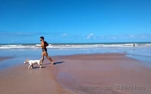 Paisagem Natural/O mar, um homem e seu cachorro