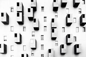 Arquitetura/Janelas assimétricas algumas a 3D